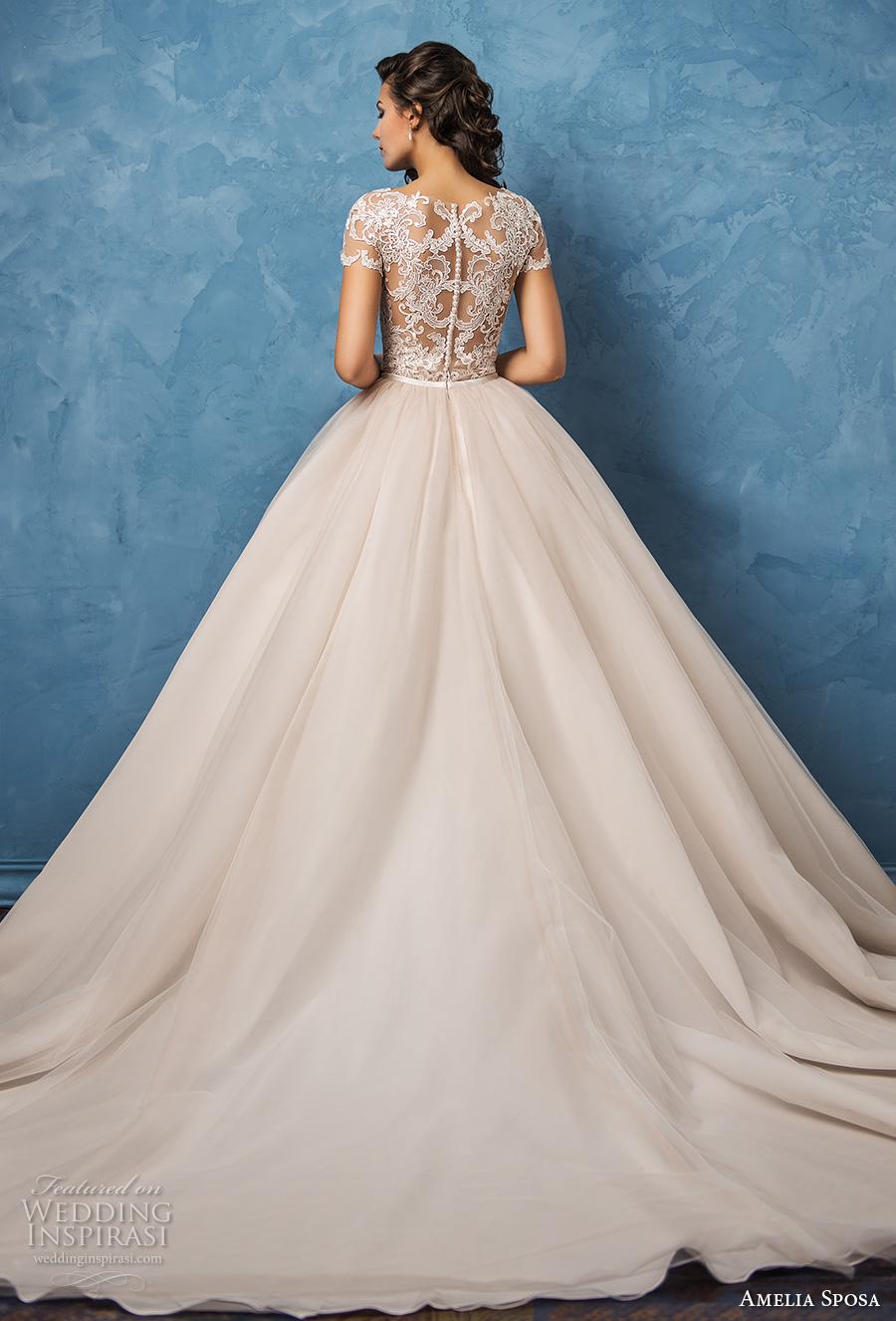 amelia sposa 2017 bridal lace short sleeves sheer bateau sweetheart neckline heavily embellished bodice romantic princess ball gown wedding dress lace back royal train (regina) bv