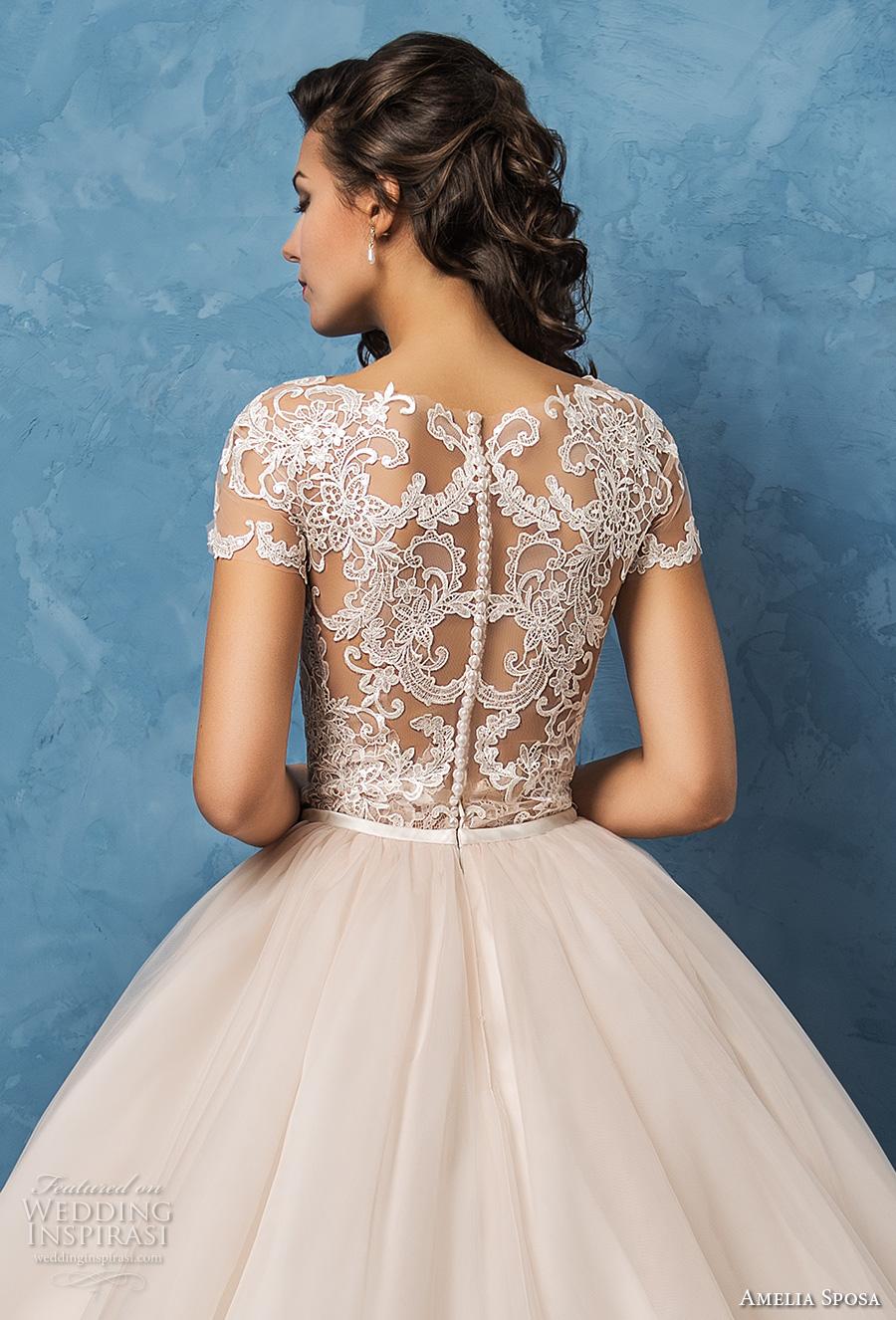 amelia sposa 2017 bridal lace short sleeves sheer bateau sweetheart neckline heavily embellished bodice romantic princess ball gown wedding dress lace back royal train (regina) zbv