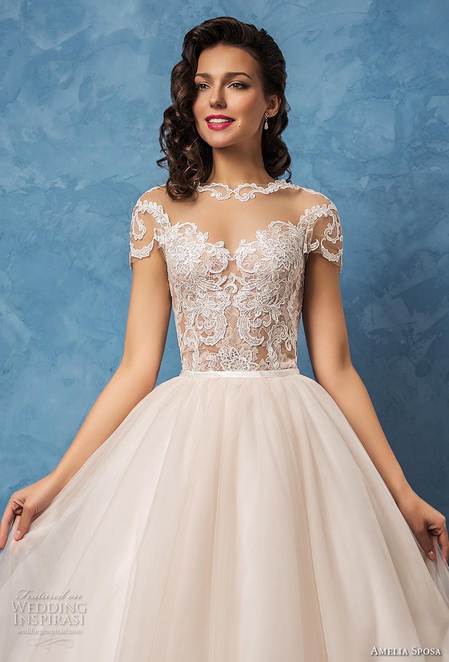 amelia sposa 2017 bridal lace short sleeves sheer bateau sweetheart neckline heavily embellished bodice romantic princess ball gown wedding dress lace back royal train (regina) zv