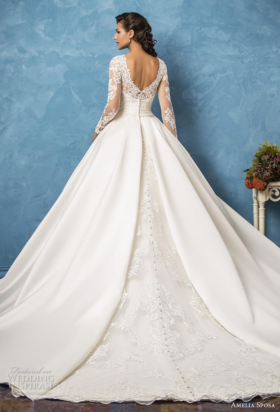 amelia sposa 2017 bridal long sleeves illusion jewel semi sweetheart neckline heavily embellished bodice princess romantic ball gown a  line wedding dress pockets royal train (elena) bv