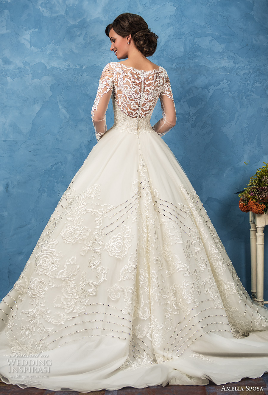 amelia sposa 2017 bridal long sleeves sweetheart neckline full embellishment princess ball gown a  line wedding dress illusion back royal train (arianna) bv