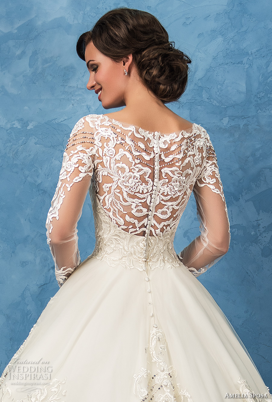 amelia sposa 2017 bridal long sleeves sweetheart neckline full embellishment princess ball gown a  line wedding dress illusion back royal train (arianna) zbv
