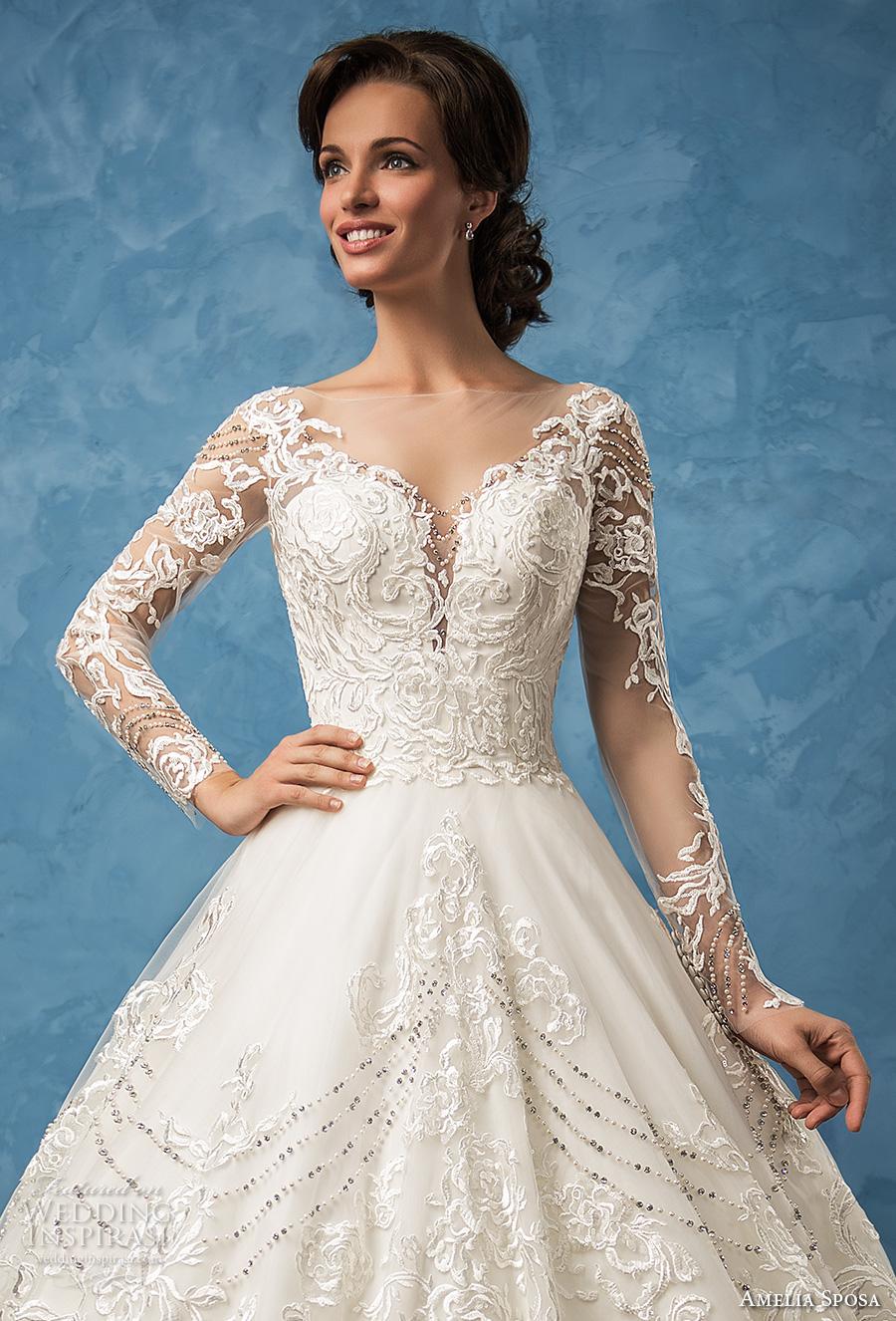 amelia sposa 2017 bridal long sleeves sweetheart neckline full embellishment princess ball gown a  line wedding dress illusion back royal train (arianna) zv