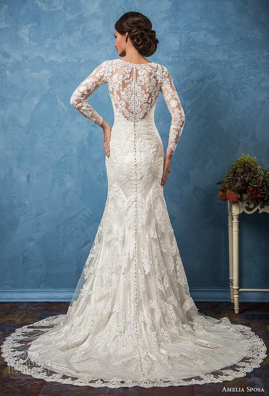 amelia sposa 2017 bridal long sleeves v neck full embellishment elegant trumpet wedding dress illusion back chapel train (carolina) bv