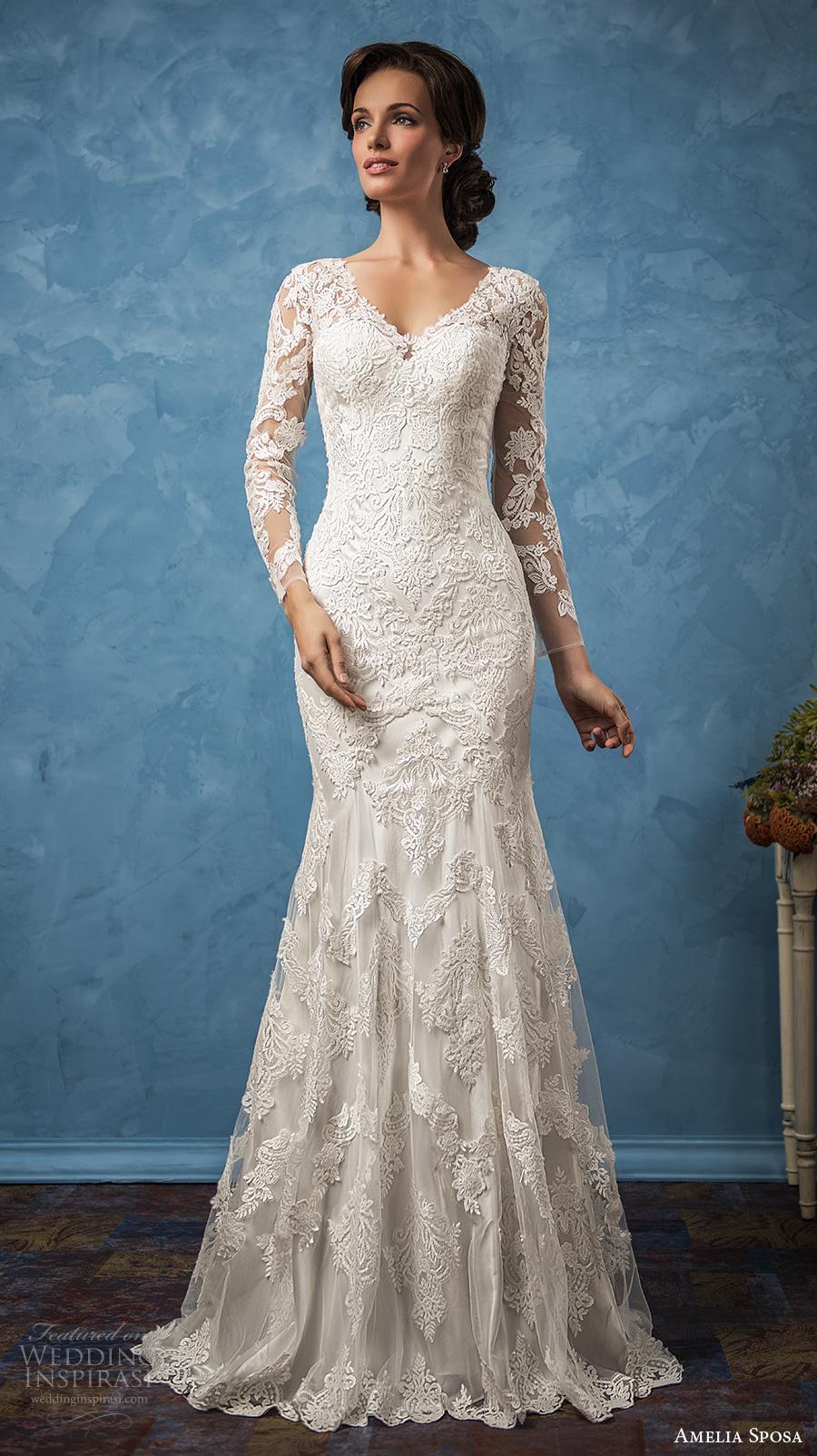 amelia sposa 2017 bridal long sleeves v neck full embellishment elegant trumpet wedding dress illusion back chapel train (carolina) mv