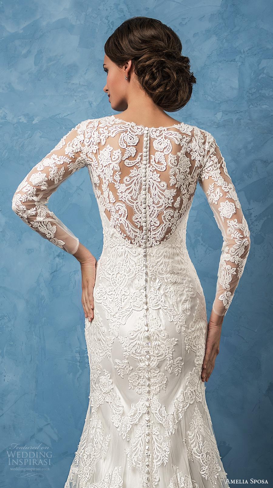 amelia sposa 2017 bridal long sleeves v neck full embellishment elegant trumpet wedding dress illusion back chapel train (carolina) zbv