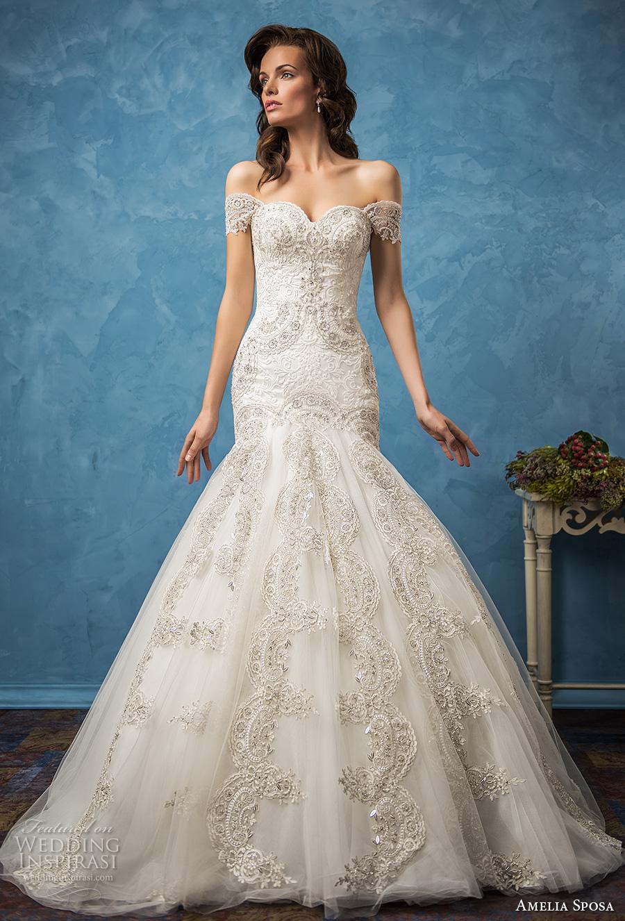 amelia sposa 2017 bridal off the shoulder sweetheart neckline full embellishment glamorous elegant fit and flare mermaid wedding dress royal train (rosa) mv