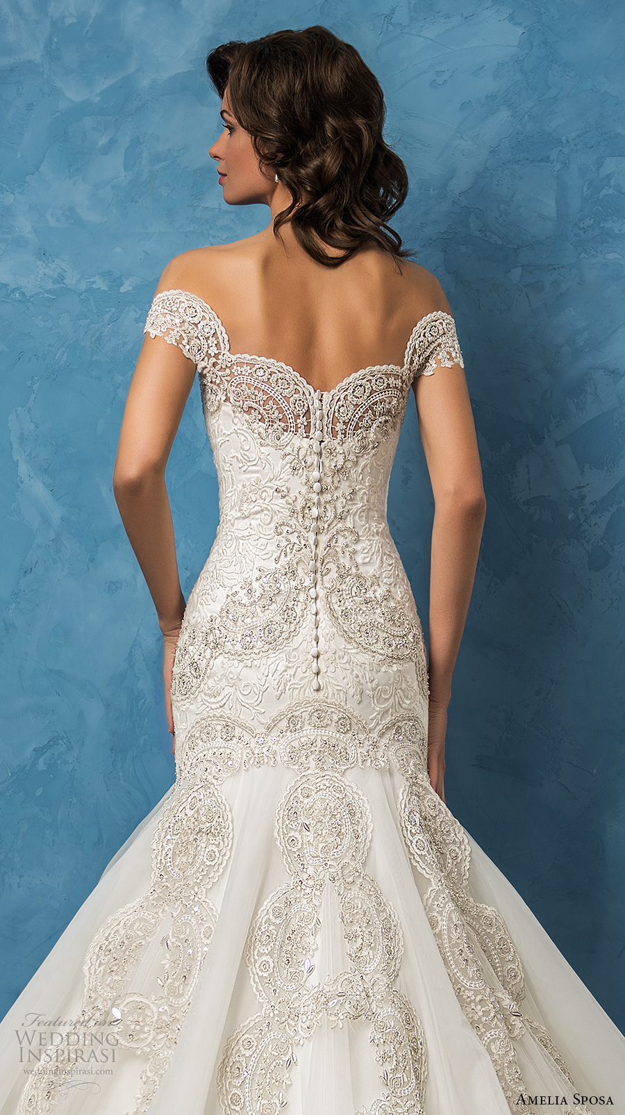 amelia sposa 2017 bridal off the shoulder sweetheart neckline full embellishment glamorous elegant fit and flare mermaid wedding dress royal train (rosa) zbv