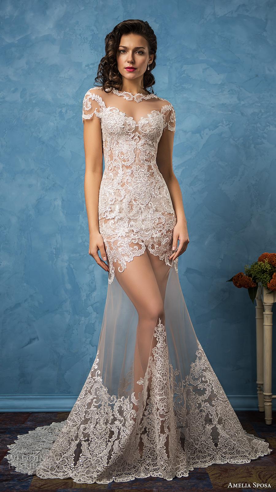 amelia sposa 2017 bridal short sleeves illusion bateau sweetheart neckline full embellishment elegant trumpet wedding dress illusion back chapel train (solange) mv