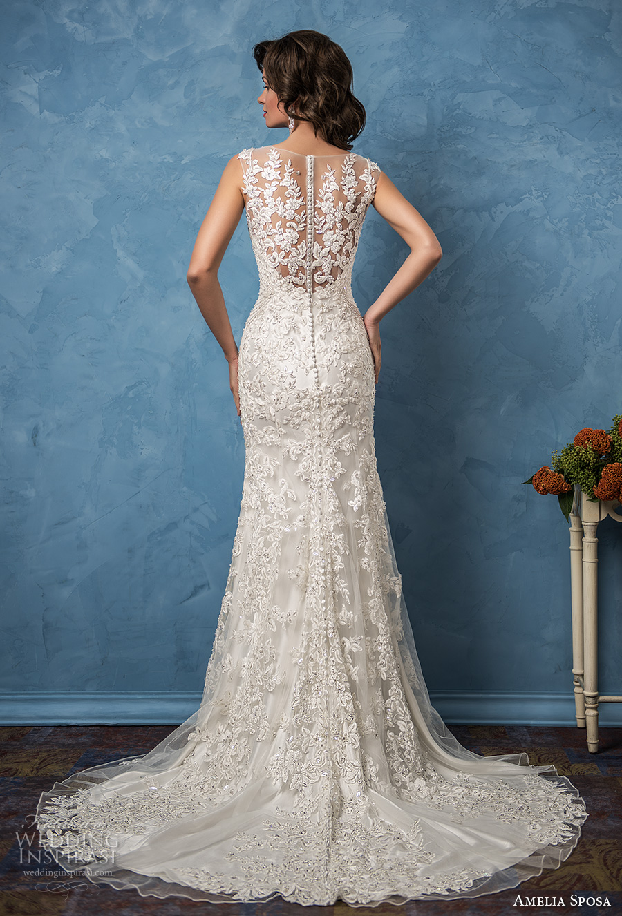 amelia sposa 2017 bridal sleeveless thick strap v neck full embellishment elegant sheath wedding dress illusion back chapel train (nicole) bv