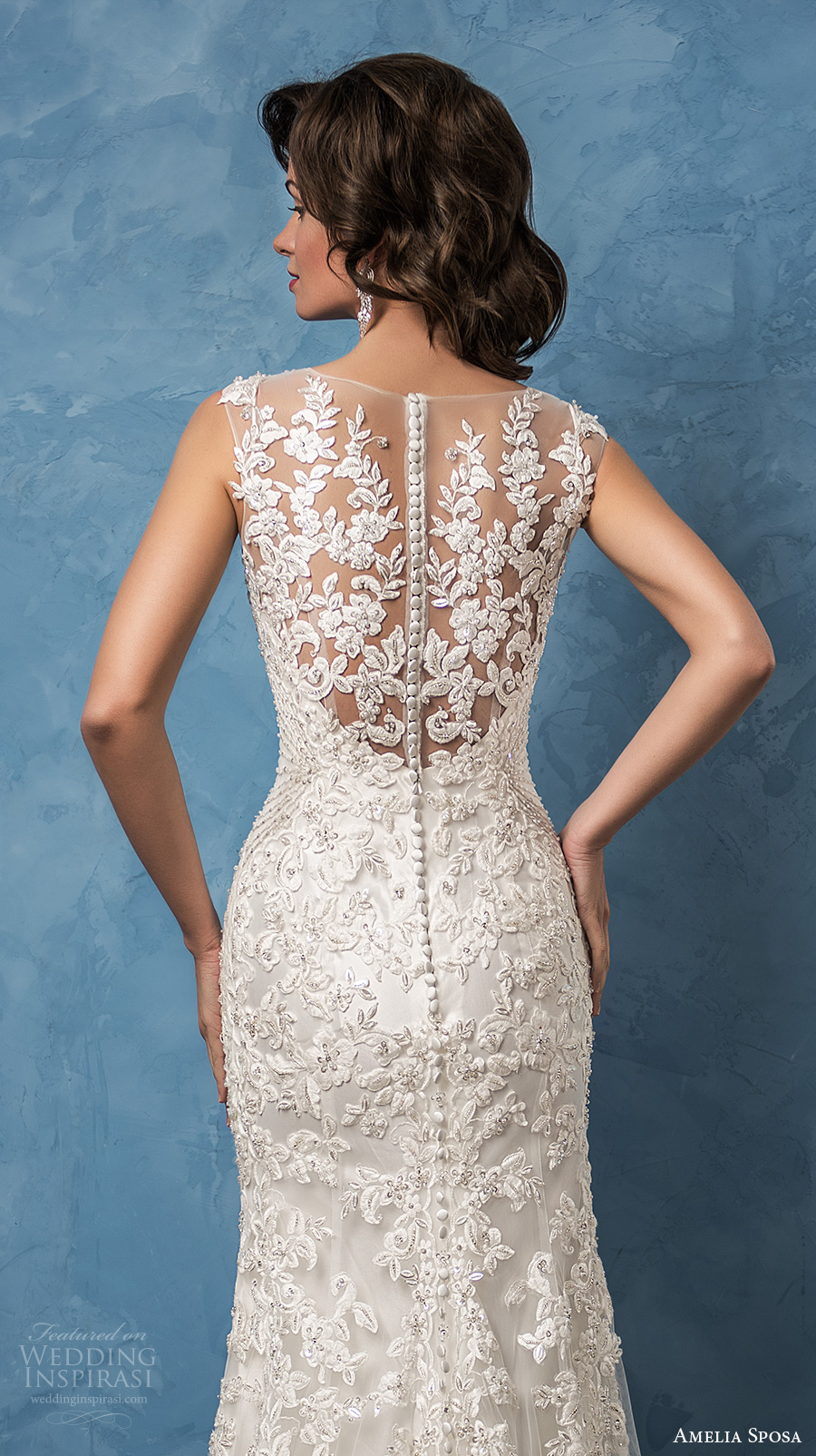 amelia sposa 2017 bridal sleeveless thick strap v neck full embellishment elegant sheath wedding dress illusion back chapel train (nicole) zbv