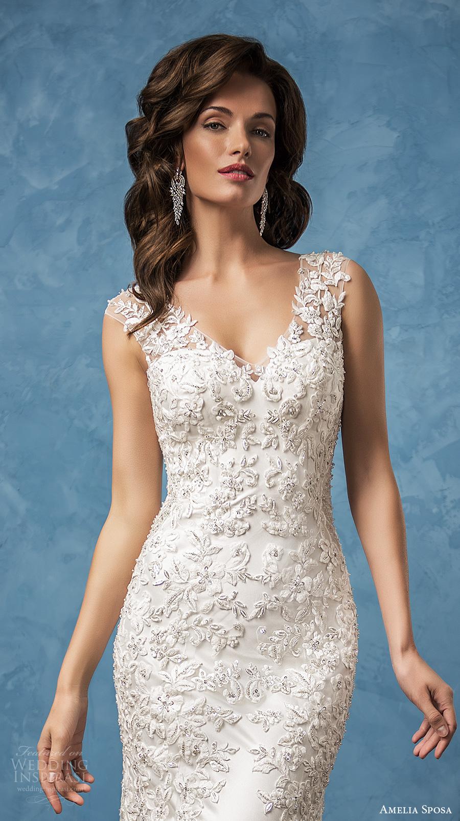 amelia sposa 2017 bridal sleeveless thick strap v neck full embellishment elegant sheath wedding dress illusion back chapel train (nicole) zv