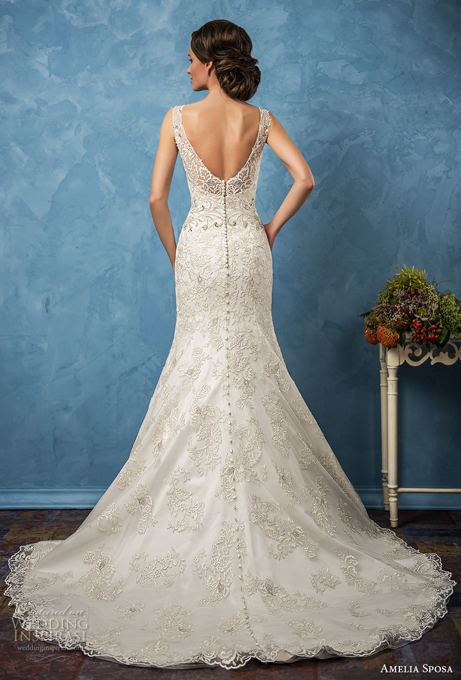 amelia sposa 2017 bridal sleeveless thick strap v neck full embellishment elegant trumpet wedding dress chapel train (sharon) bv