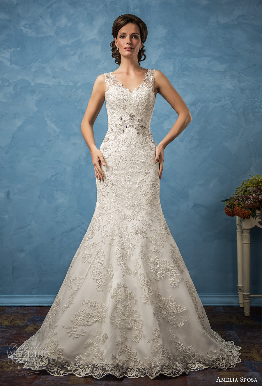 amelia sposa 2017 bridal sleeveless thick strap v neck full embellishment elegant trumpet wedding dress chapel train (sharon) mv