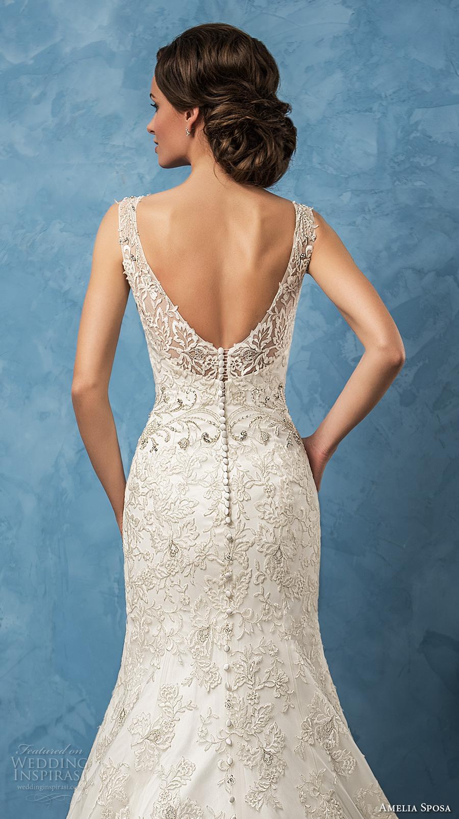 amelia sposa 2017 bridal sleeveless thick strap v neck full embellishment elegant trumpet wedding dress chapel train (sharon) zbv