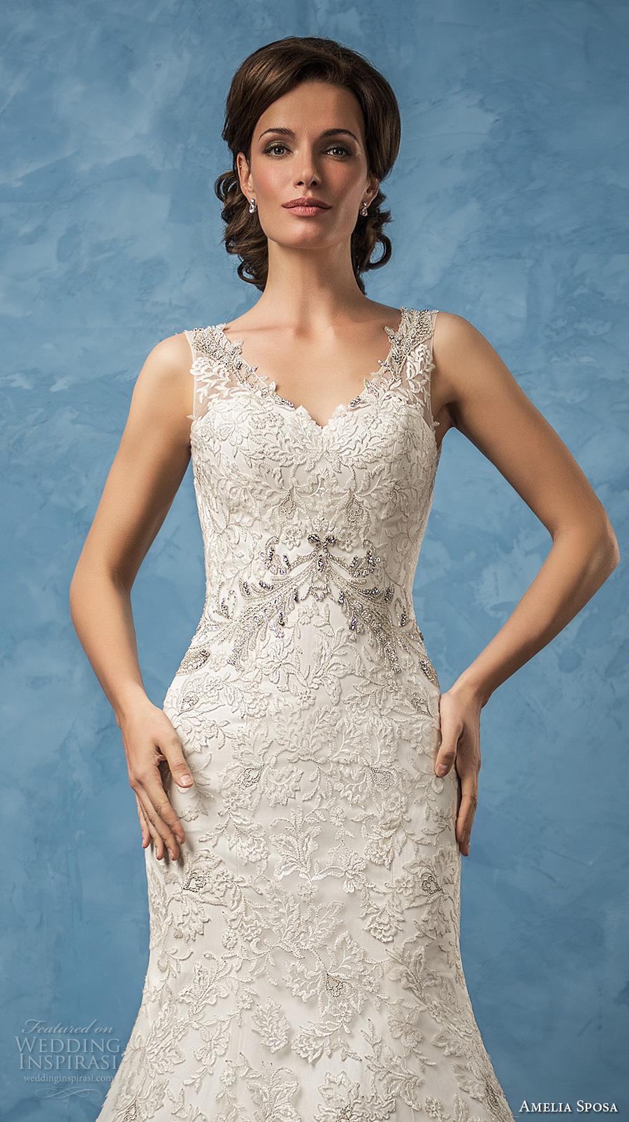 amelia sposa 2017 bridal sleeveless thick strap v neck full embellishment elegant trumpet wedding dress chapel train (sharon) zv