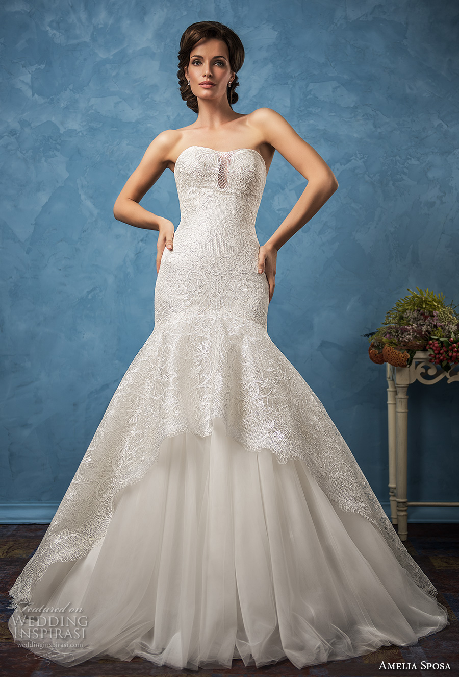 amelia sposa 2017 bridal strapless semi sweetheart neckline full embellishment fit and flare mermaid wedding dress chapel train (evelina) mv