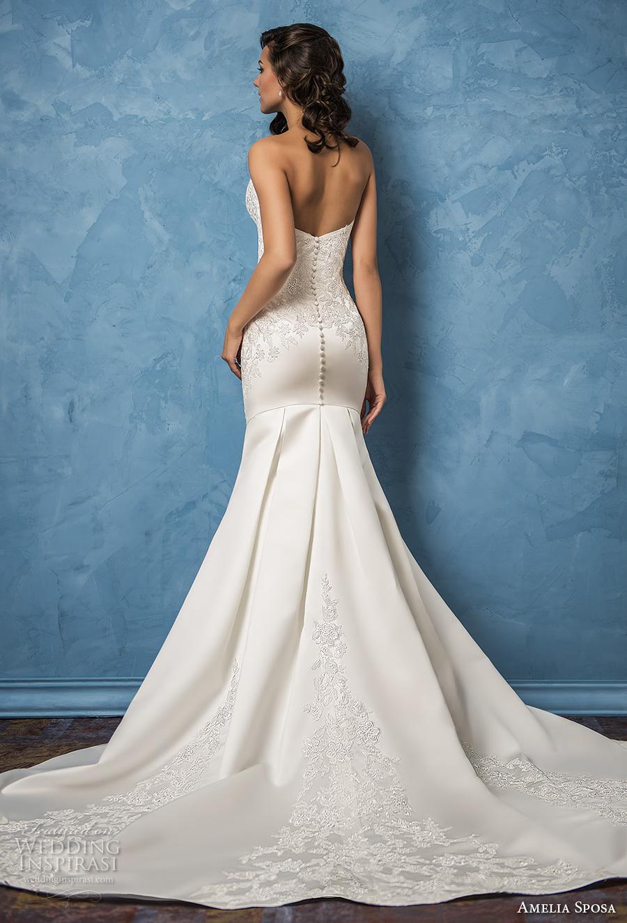 amelia sposa 2017 bridal strapless semi sweetheart neckline heavily embellished bodice elegant trumpet wedding dress chapel train (caterina) bv