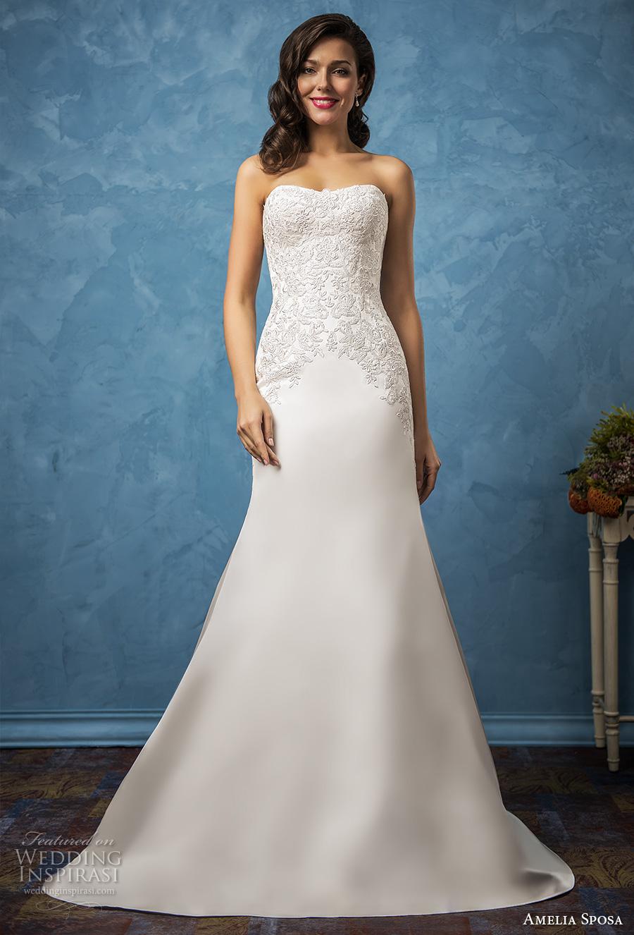amelia sposa 2017 bridal strapless semi sweetheart neckline heavily embellished bodice elegant trumpet wedding dress chapel train (caterina) mv