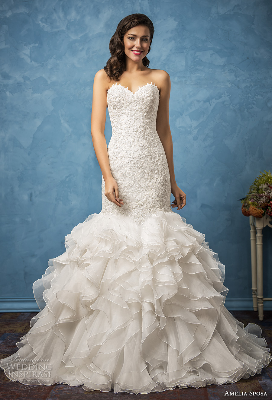 amelia sposa 2017 bridal strapless sweetheart neckline heavily embellished bodice ruffled skirt romantic princess mermaid wedding dress chapel train (martina) mv