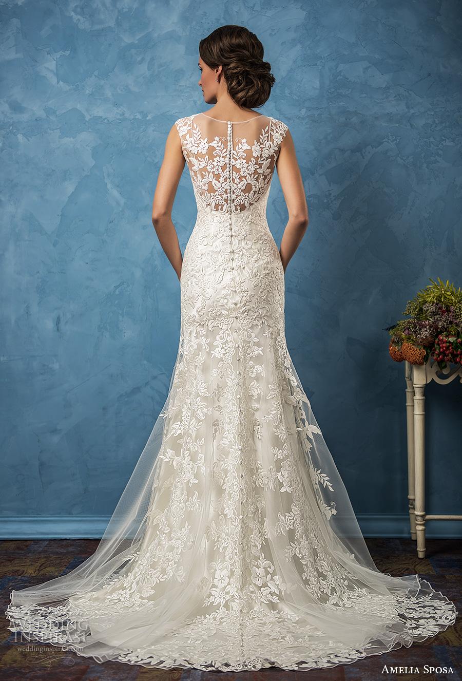 amelia sposa 2017 bridal thick straps v neck full embellishment elegant sheath trumpet wedding dress ilusion back chapel train (glenda) bv
