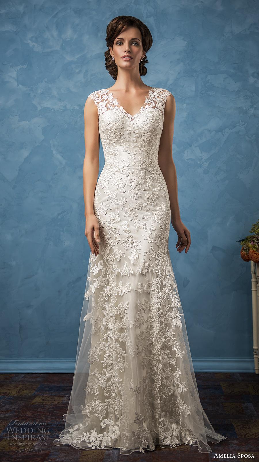 amelia sposa 2017 bridal thick straps v neck full embellishment elegant sheath trumpet wedding dress ilusion back chapel train (glenda) mv