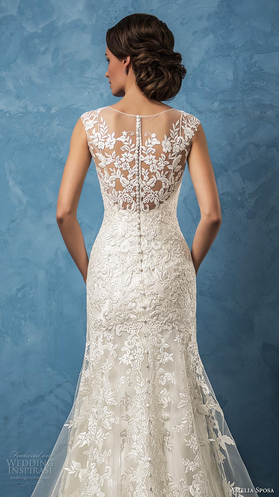 amelia sposa 2017 bridal thick straps v neck full embellishment elegant sheath trumpet wedding dress ilusion back chapel train (glenda) zbv
