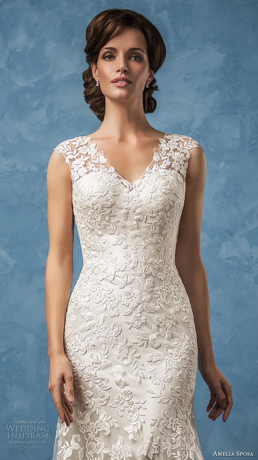 amelia sposa 2017 bridal thick straps v neck full embellishment elegant sheath trumpet wedding dress ilusion back chapel train (glenda) zv