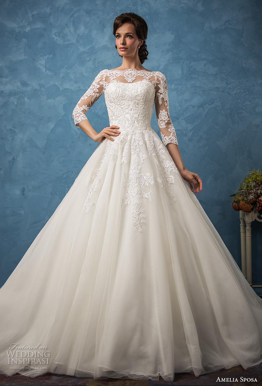 amelia sposa 2017 bridal three quarter sleeves illusion bateau semi sweetheart heavily embellished bodice romantic princess ball gown a  line wedding dress (enrica) mv