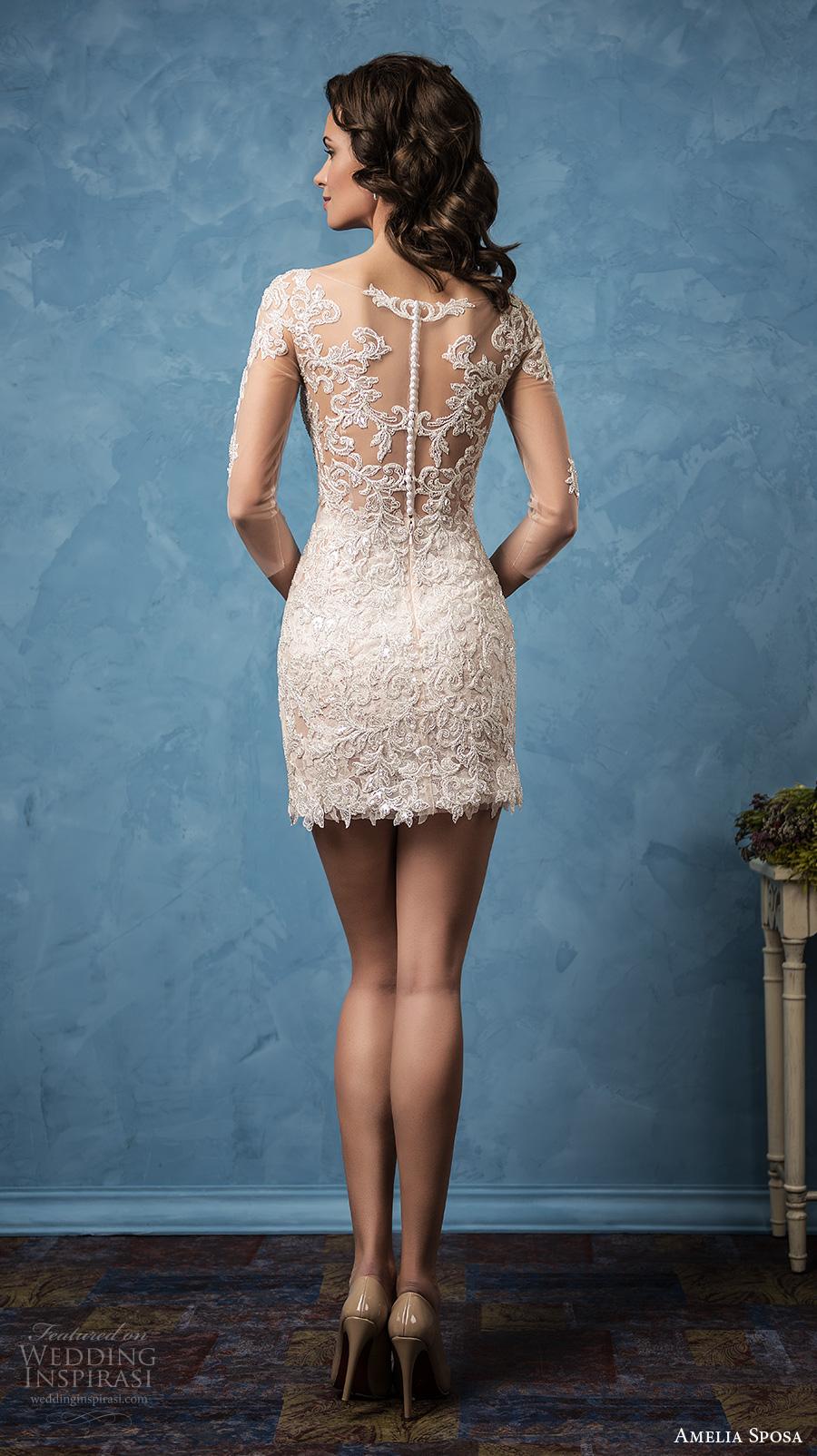 amelia sposa 2017 bridal three quarter sleeves semi sweetheart neckline full embellishment sexy mini skirt short wedding dress illusion back (cornelia) bv