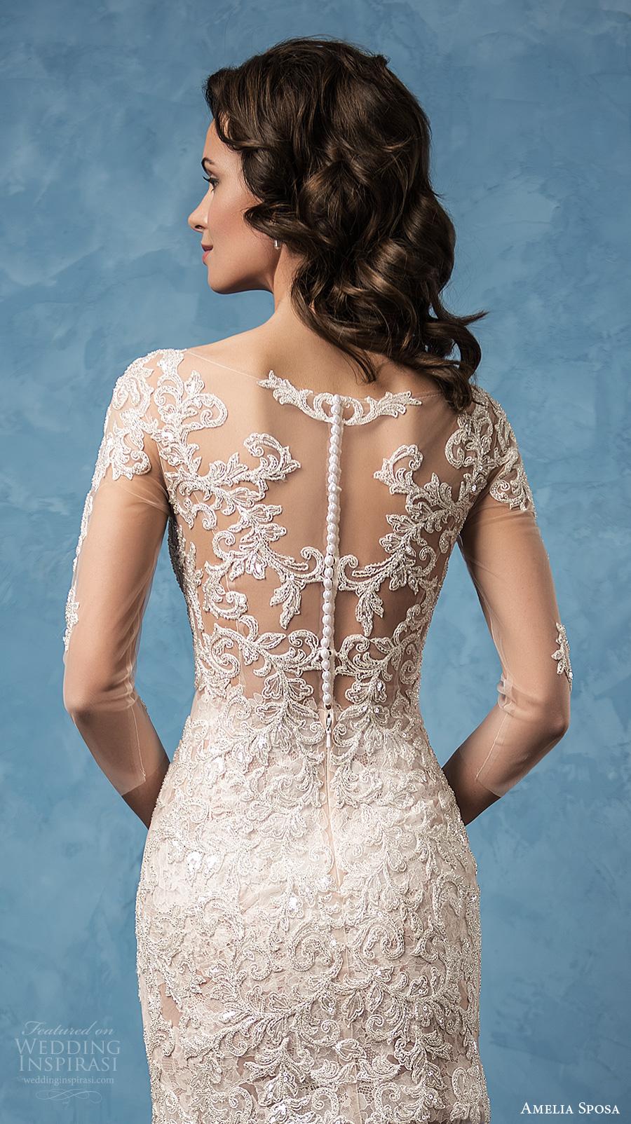 amelia sposa 2017 bridal three quarter sleeves semi sweetheart neckline full embellishment sexy mini skirt short wedding dress illusion back (cornelia) zbv