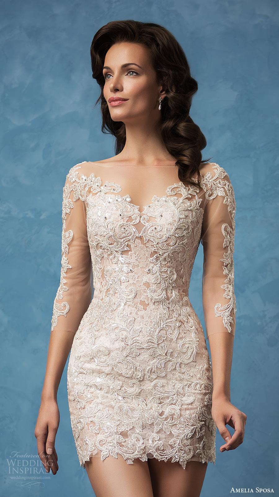 amelia sposa 2017 bridal three quarter sleeves semi sweetheart neckline full embellishment sexy mini skirt short wedding dress illusion back (cornelia) zv