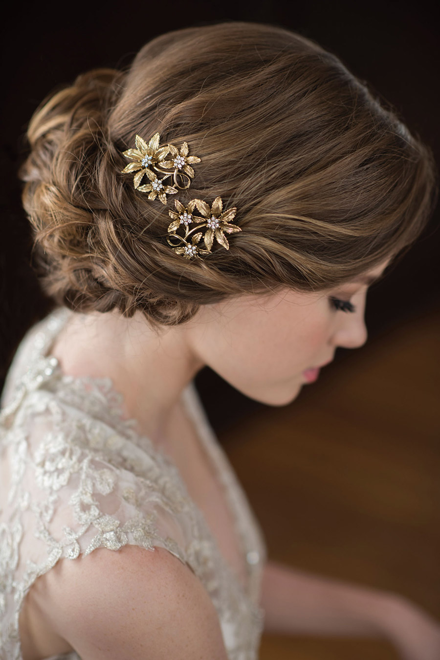 bel aire bridal accessories gilded hairpiece antique gold flower 1723 klk photography ebell wedding shoot sv