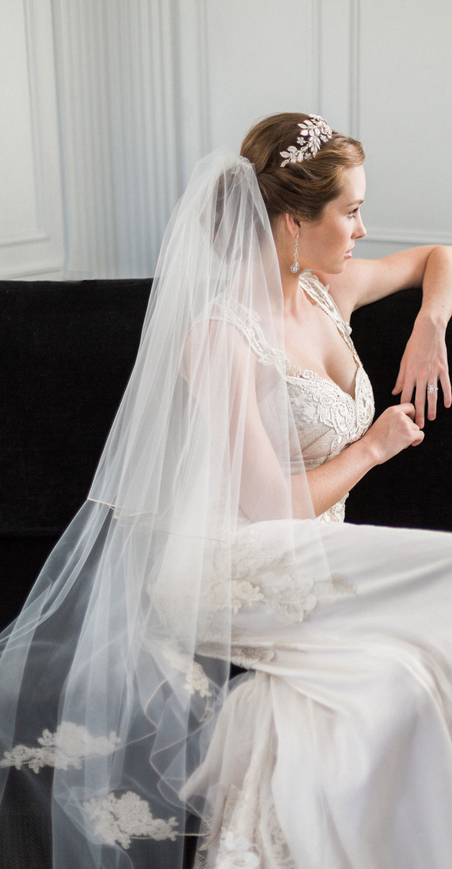 bel aire bridal accessories lace veil headpiece jen fu photography 2016 chloe mint styled wedding shoot culver hotel mv