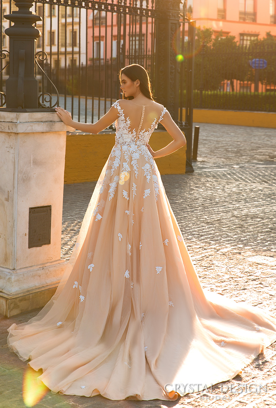 crystal design 2017 bridal cap sleeves deep sweetheart neckline heavily embellished bodice elegant blush fit and flare wedding dress sheer back long train (fiona) bv