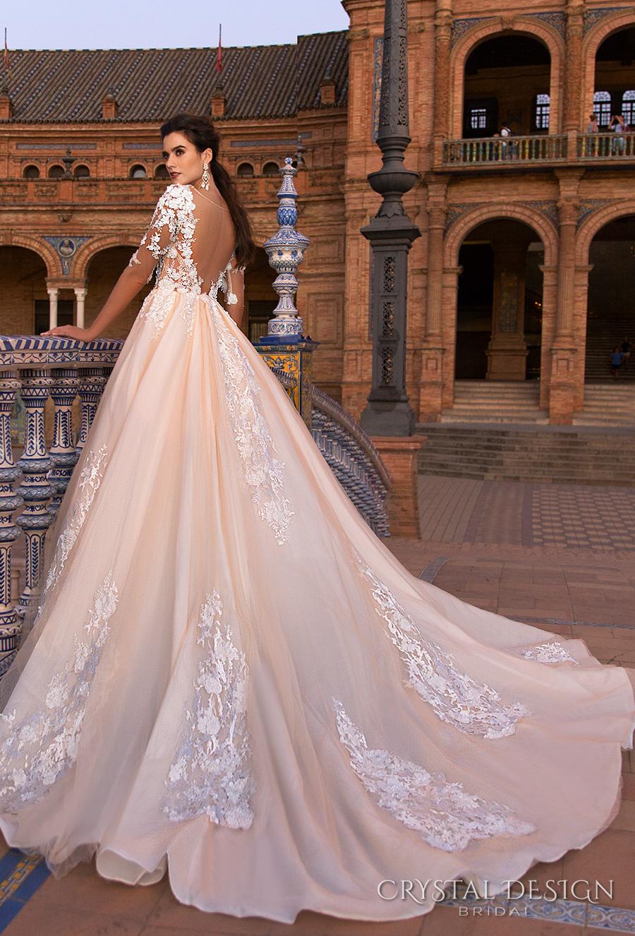 crystal design 2017 bridal half sleeves sweetheart neckline heavily embellished bodice blush color princess ball gown a  line wedding dress low back royal train (gemma) bv