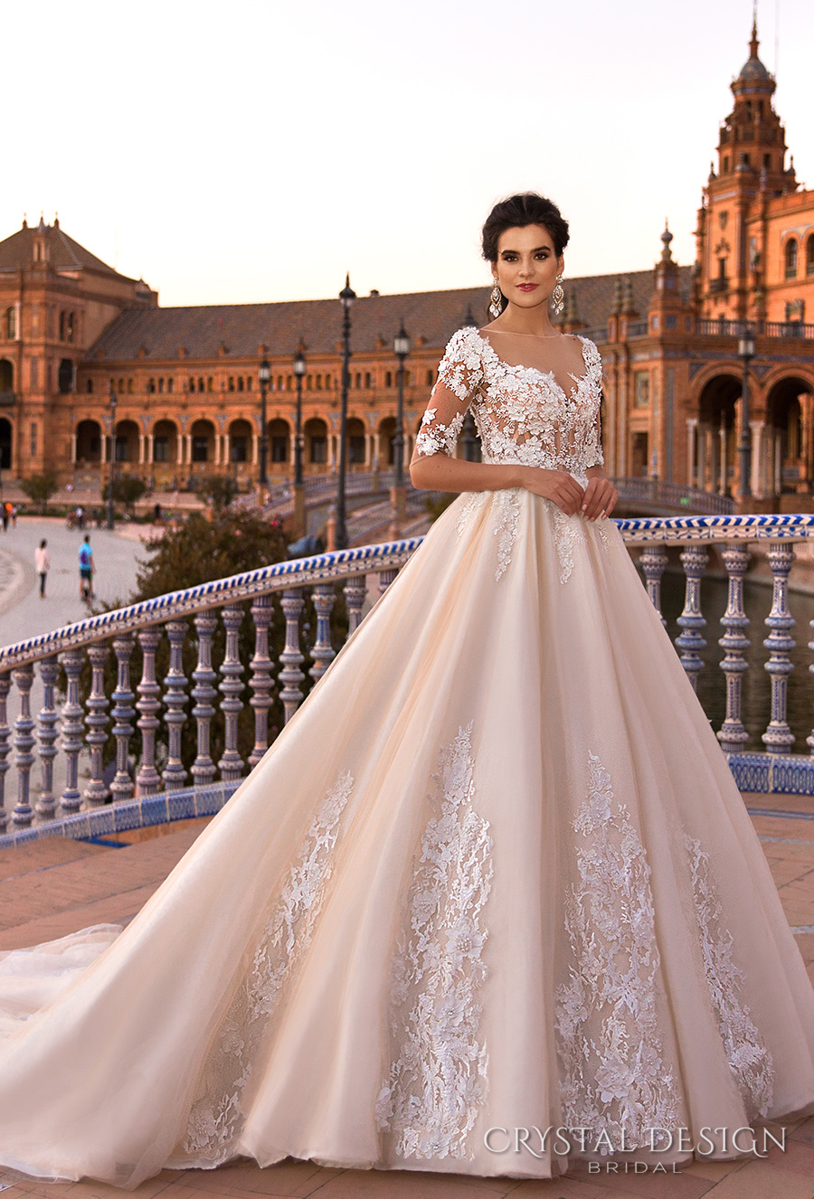 crystal design 2017 bridal half sleeves sweetheart neckline heavily embellished bodice blush color princess ball gown a  line wedding dress low back royal train (gemma) mv