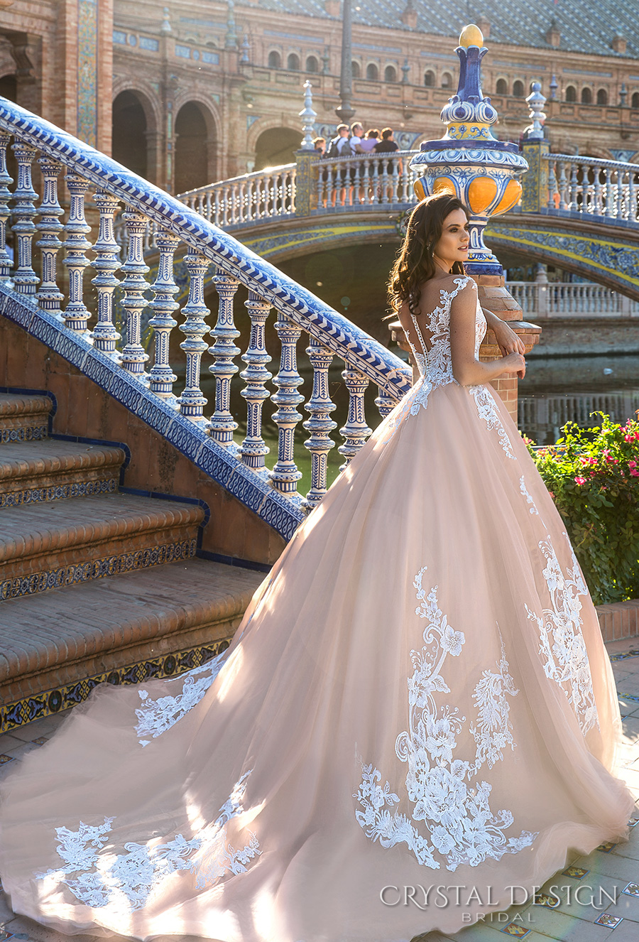 crystal design 2017 bridal illusion off the shoulder cap sleeves sheer boat sweetheart neckline heavily embellished bodice lace blush princess ball gown wedding dress royal train (jill) bv
