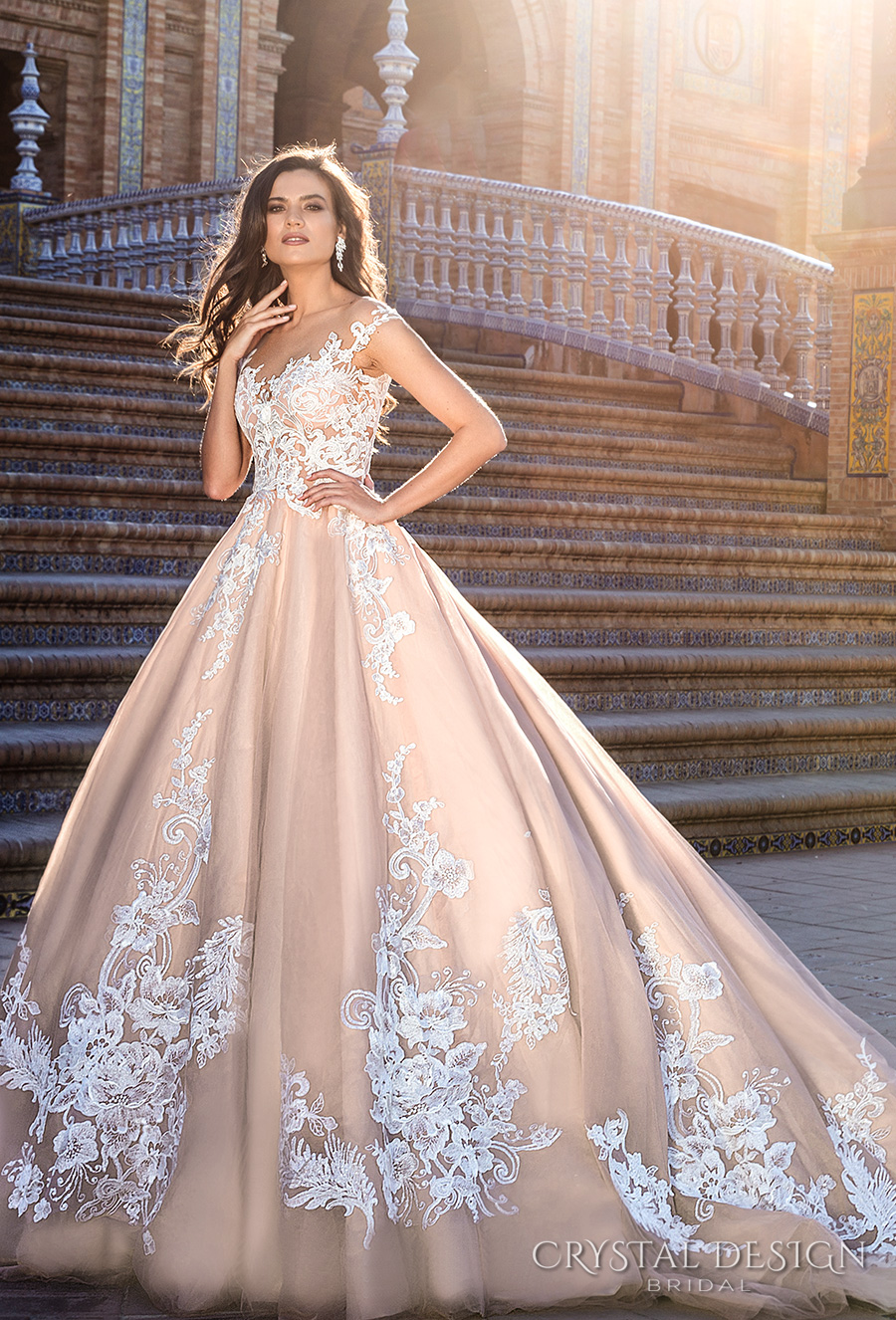 crystal design 2017 bridal illusion off the shoulder cap sleeves sheer boat sweetheart neckline heavily embellished bodice lace blush princess ball gown wedding dress royal train (jill) mv