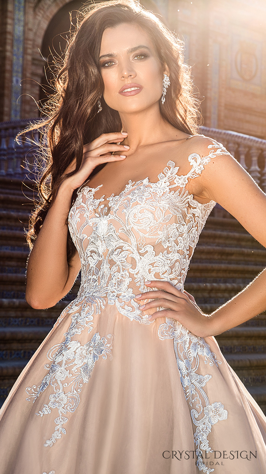 crystal design 2017 bridal illusion off the shoulder cap sleeves sheer boat sweetheart neckline heavily embellished bodice lace blush princess ball gown wedding dress royal train (jill) zv