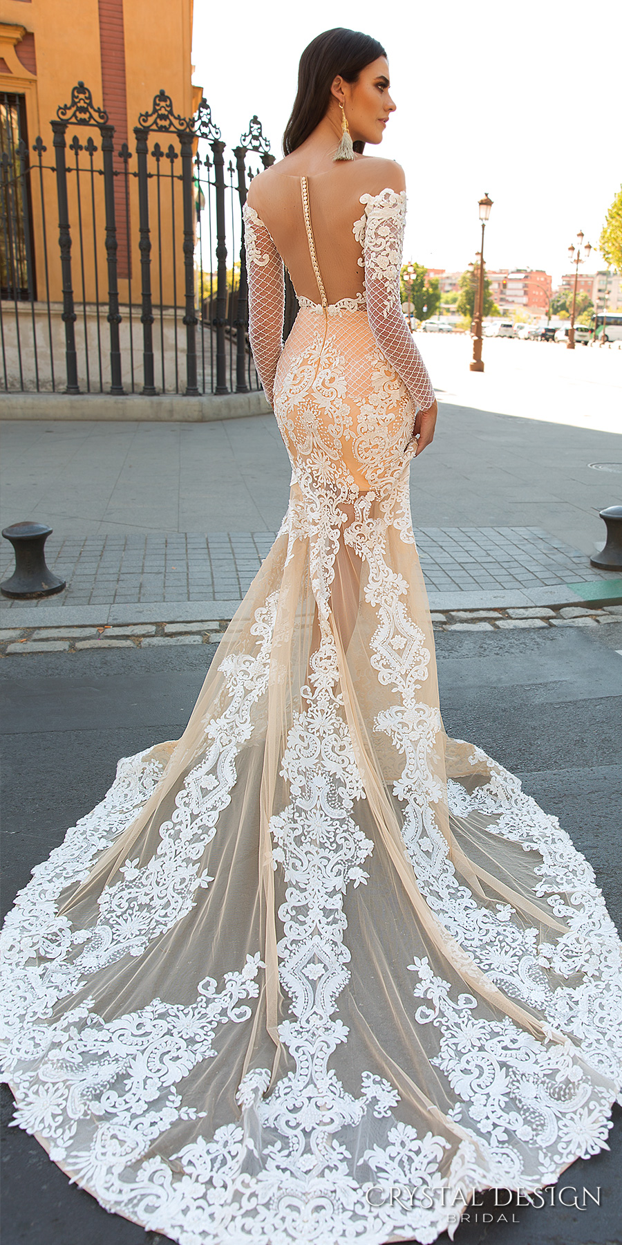 ed5238bf173f crystal design 2017 bridal long sleeves off the shoulder sweetheart  neckline elegant fit and flare lace