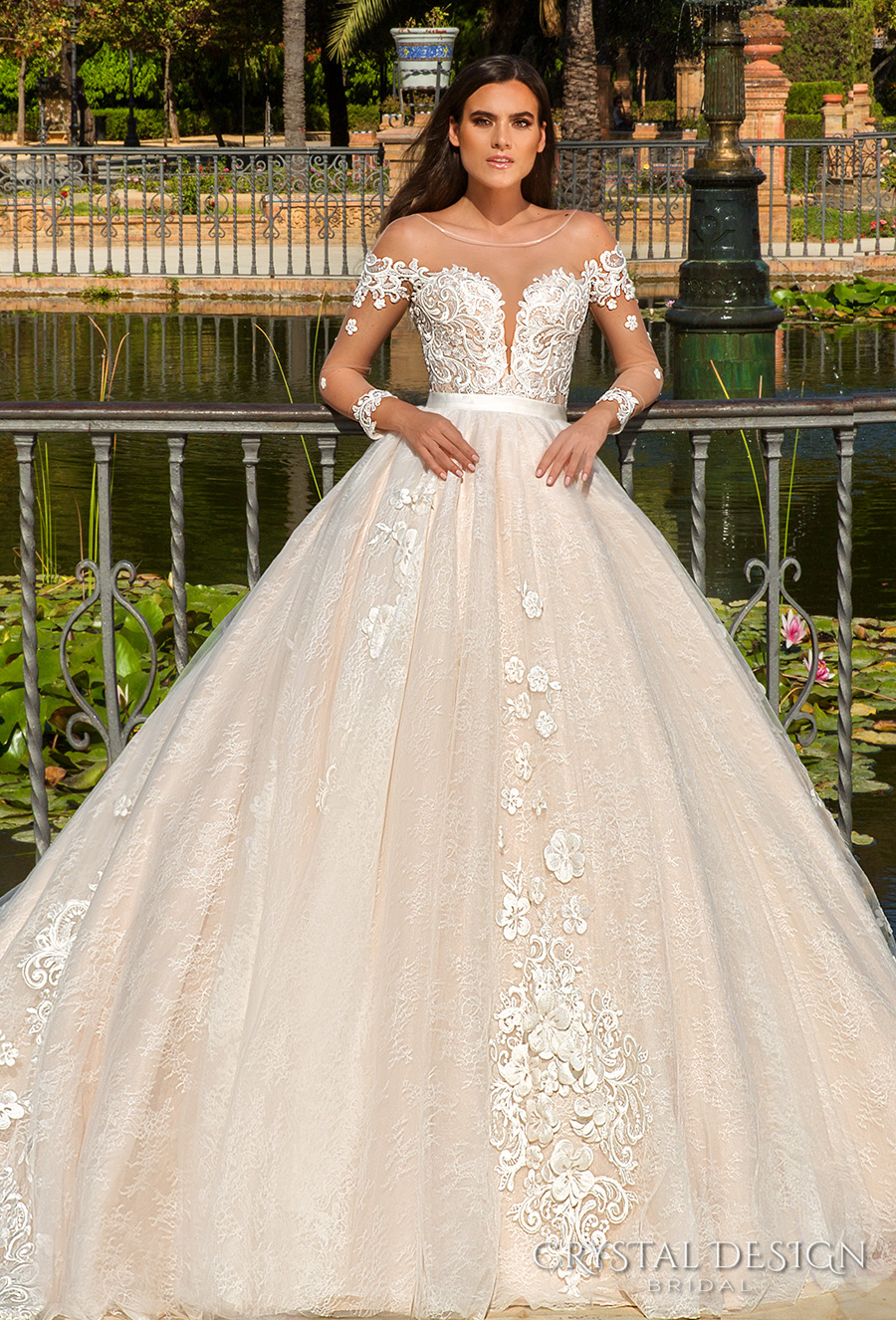 Crystal Design 2017 Bridal Long Sleeves Sheer Bateau Deep Plunging