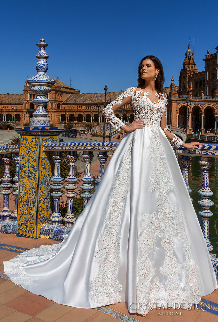 crystal design 2017 bridal long sleeves sweetheart neckline heavily embellished bodice elegant glamorous lace a  line wedding dress lace back chapel train (harlow) mv