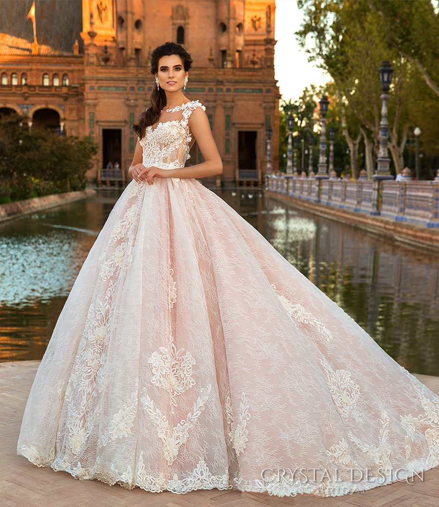crystal design 2017 bridal sleeveless illusion boat sweetheart neckline full embellishment pink lace princess ball gown a  line wedding dress lace back chapel train (evely) mv