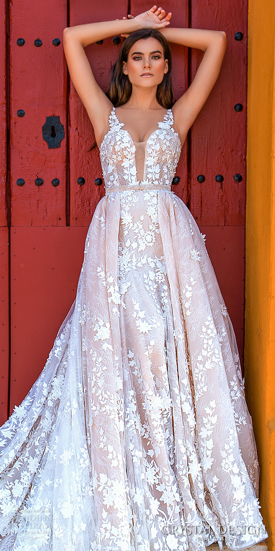 crystal design 2017 bridal sleeveless strap deep plunging sweetheart neckline full embellishment blush color romantic a  line wedding dress  sheer back royal train (lizel) mv