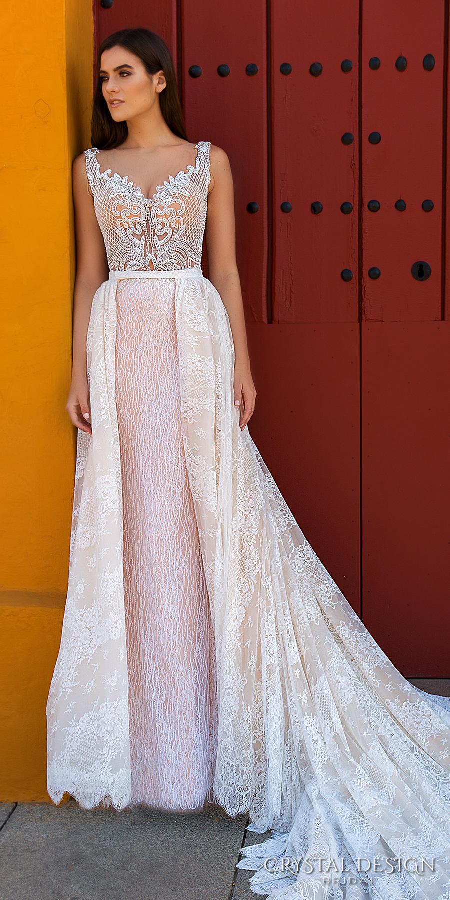 Crystal Design 2017 Bridal Sleeveless With Strap Full Embellishment Elegant Sheath Wedding Dress A Line Overskirt Lace Back Royal Train Eliza Mv