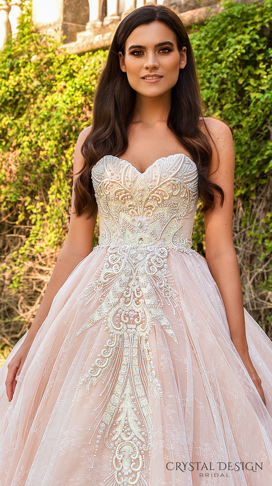 crystal design 2017 bridal strapless sweetheart neckline heavily embroidered bodice pink princess ball gown a  line wedding dress royal train (marvella) zv