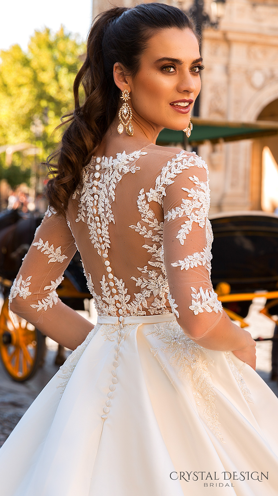 crystal design 2017 bridal three quarter sleeves sheer boat sweetheart neckline heavily embellished bodice romantic lace a  line wedding dress lace back chapel train (jaimi) zbv
