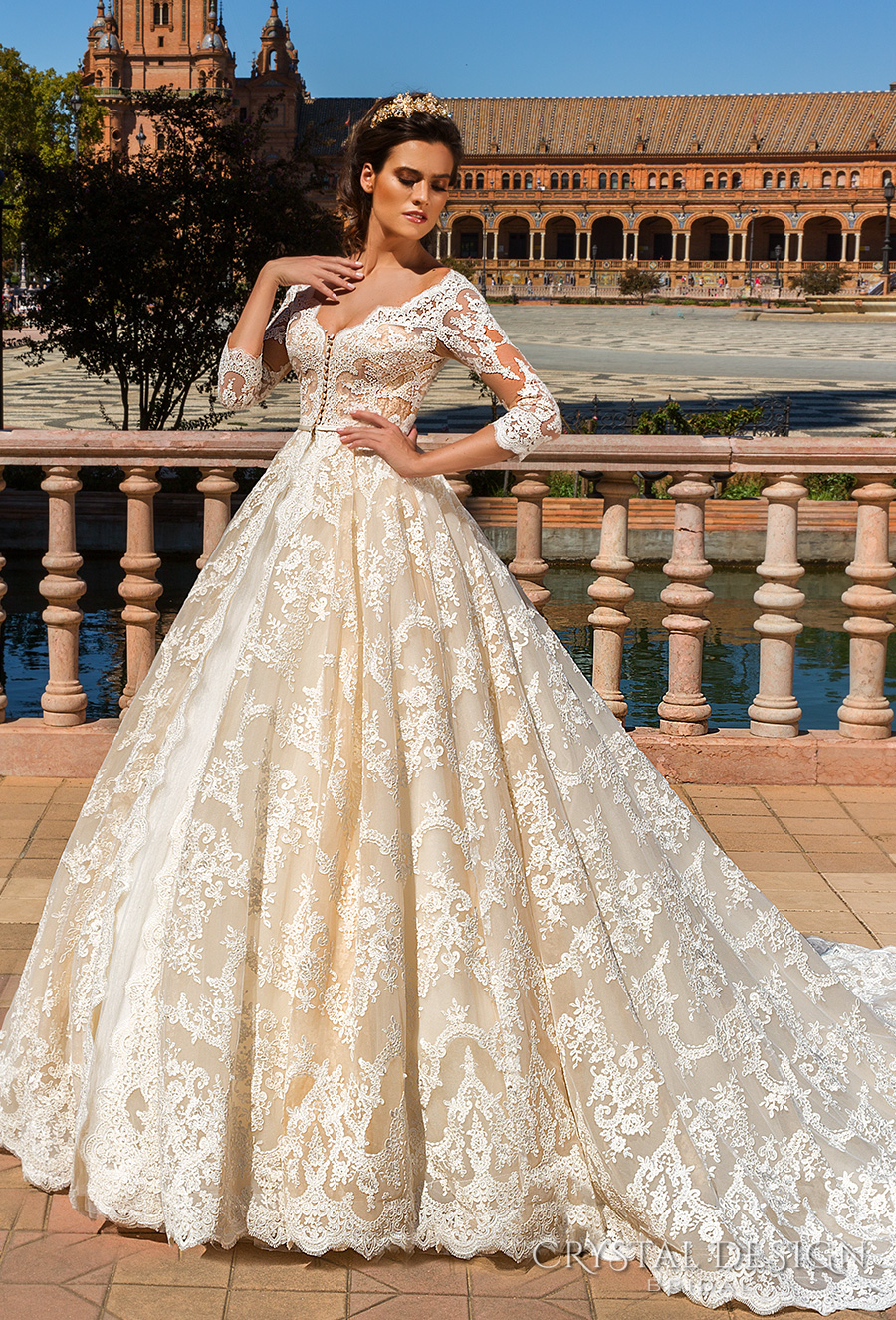 crystal design 2017 bridal three quarter sleeves v neck full embellishment ivory color princess ball gown a  line wedding dress monarch train (amelia) mv