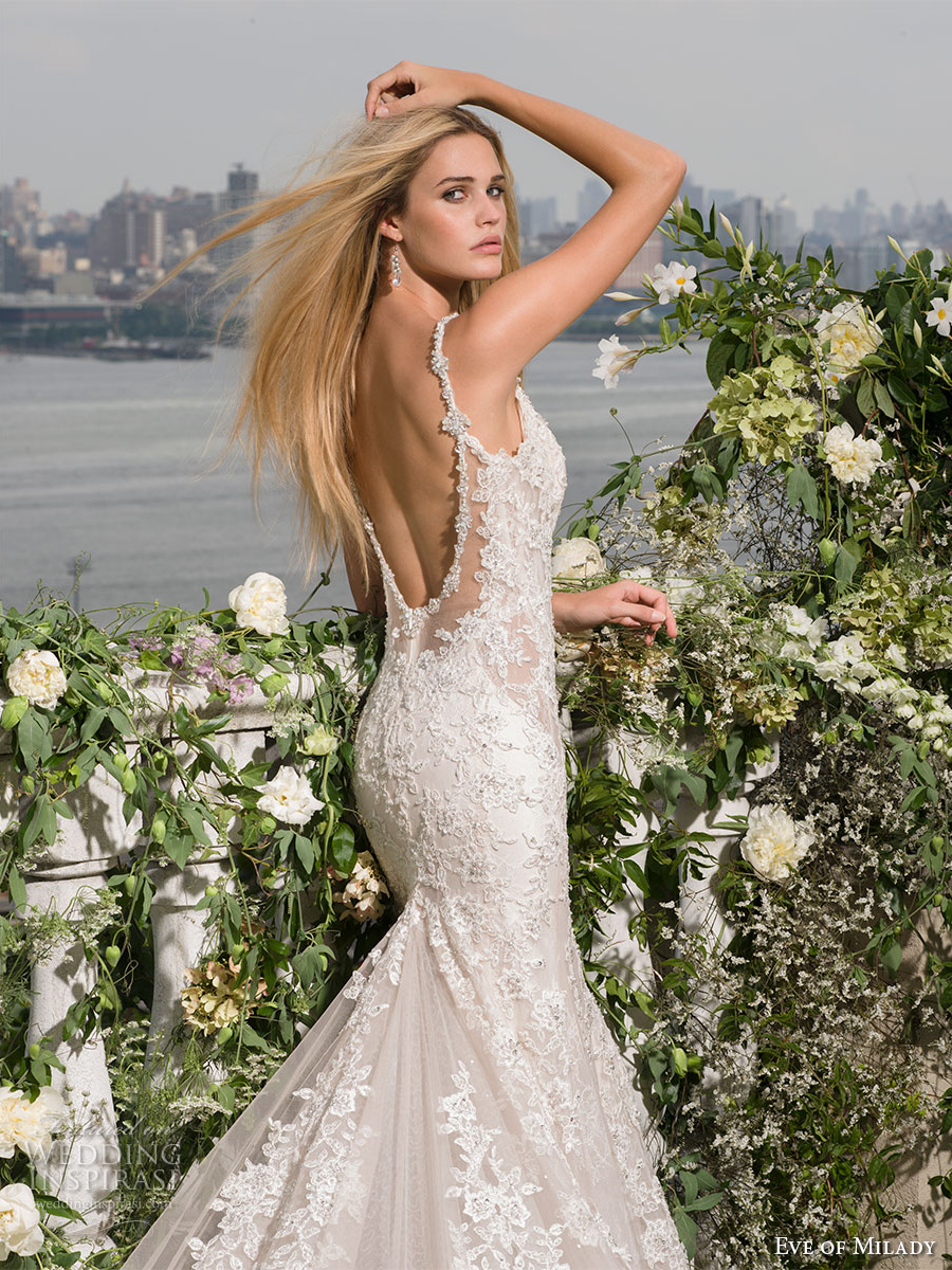eve of milady fall 2016 bridal sleeveless embellished strap v neckline full embellishment beaded low back elegant fit and flare wedding dress low back chapel train (4349) zbv